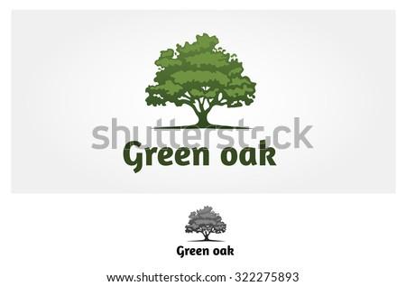 Green Oak Silhouette of a tree, Vector logo design  - stock vector