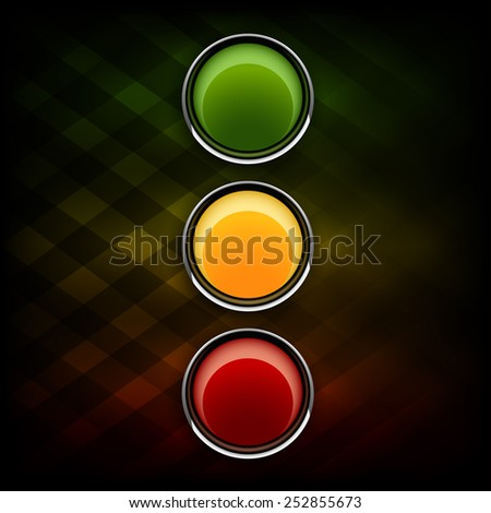 Green, orange and red buttons as stoplight symbol. - stock vector