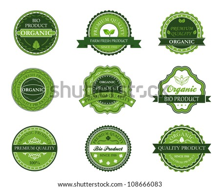 Green organic and bio labels set for design. Jpeg version also available in gallery - stock vector