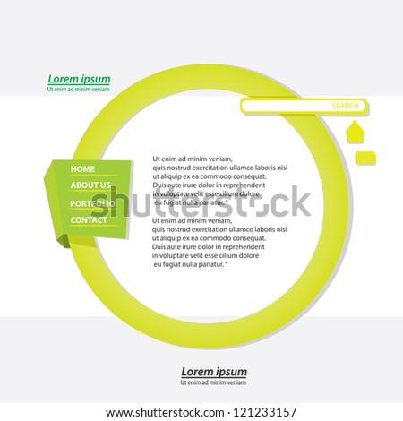 green origami website template design. vector origami style site. - stock vector