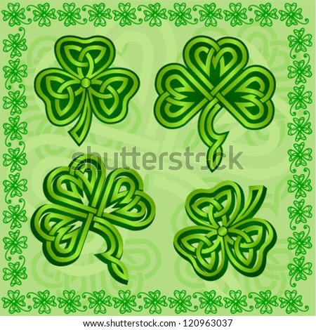 Green ornamental Irish shamrocks set - stock vector