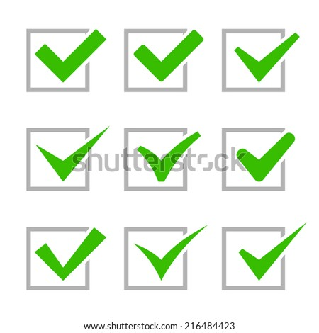 Green Painted Ticks. Check Marks. Vector illustration - stock vector