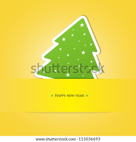 Green paper christmas tree on yellow background - stock vector