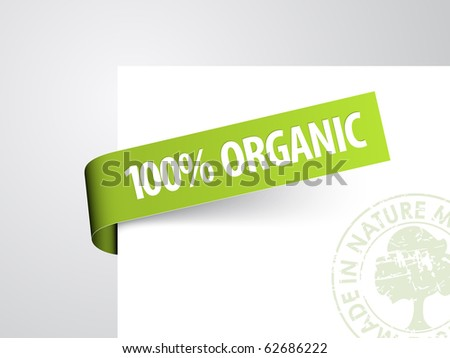 Green paper tag for organic item - Vector announcement - stock vector