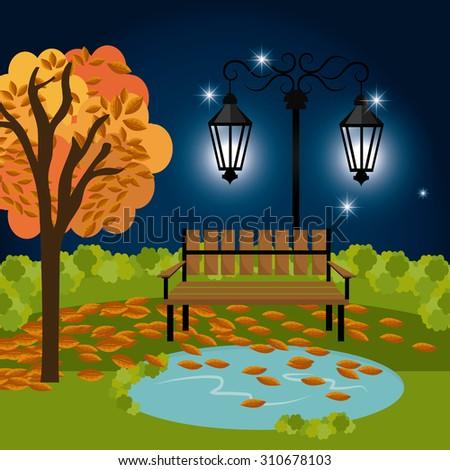 Green park design, vector illustration eps 10. - stock vector