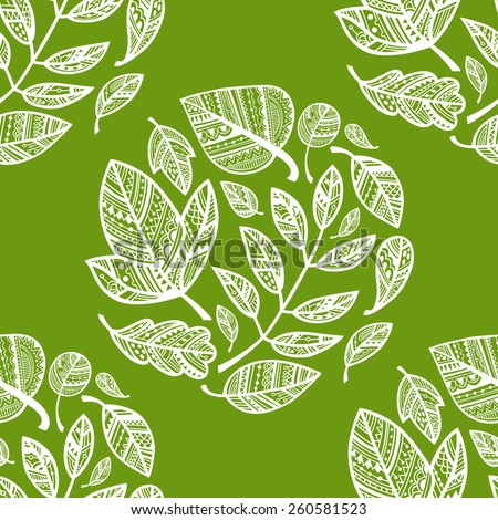 Green pattern with circles of decorative lacy white leaves. Vector. - stock vector