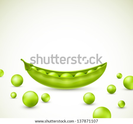 Green peas, vector. Eps 10 - stock vector