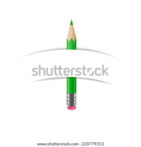 Green pencil and white blank paper banner - stock vector