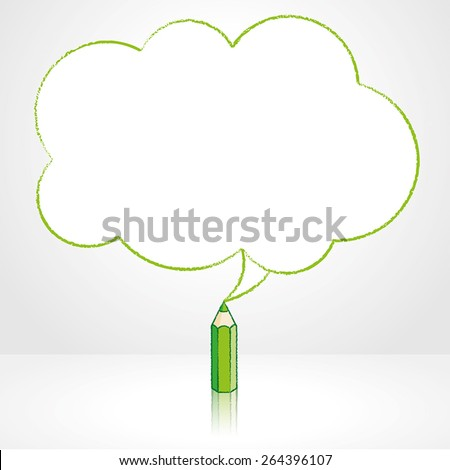 Green Pencil with Reflection Drawing Fluffy Cloud Shaped Speech Bubble on Grey Background - stock vector