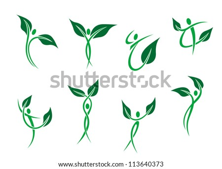 Green peoples with leaves as environment and ecology symbols, also a logo idea. Jpeg version also available in gallery - stock vector