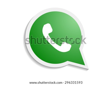 Green phone handset in speech bubble icon - stock vector