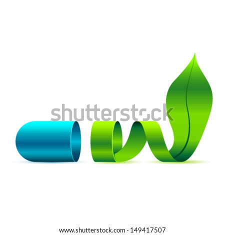 green pill and leaf  - stock vector