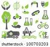 Green planet symbols, ecology concept - stock vector