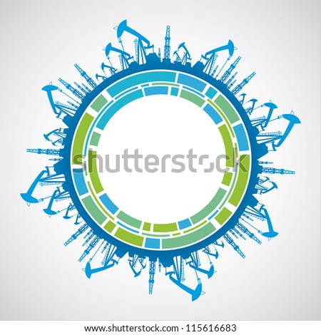 Green planet with sphere industrial abstraction. Vector illustration. - stock vector