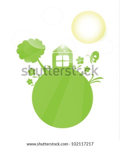 Green planet with the sun - stock vector