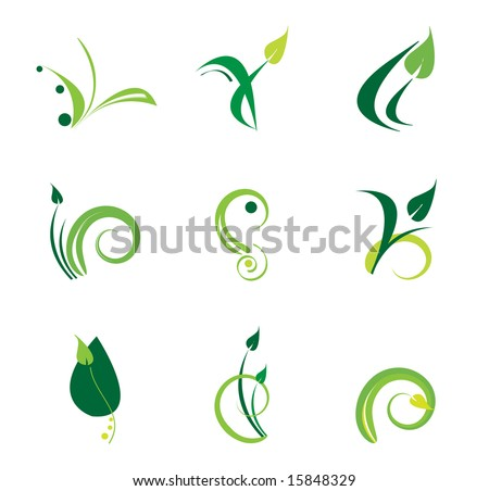 green plant logo set - stock vector