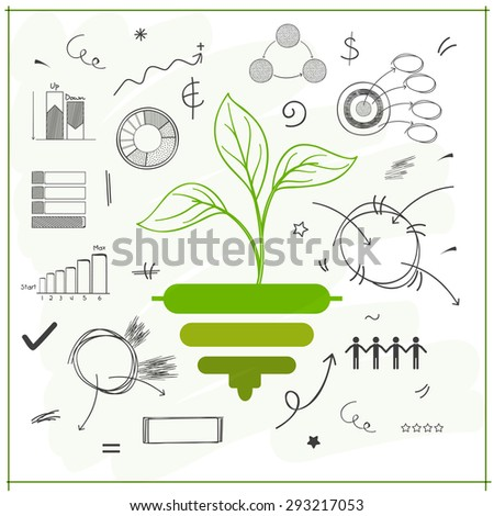 Green plant with various statistical infographic elements for Ecology concept. - stock vector