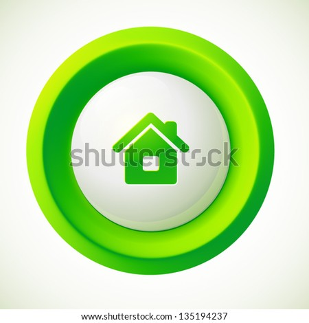 Green plastic vector home round button - stock vector