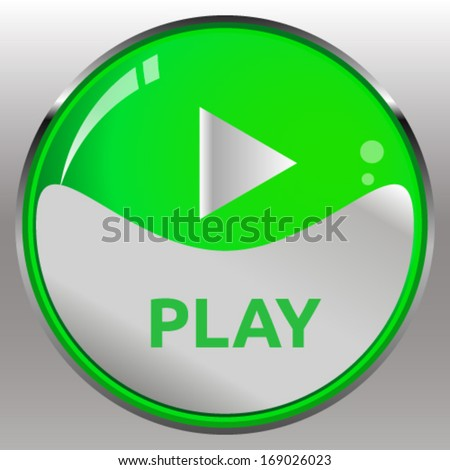 Green play button - stock vector
