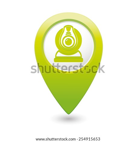 Green pointer with web camera icon. Vector illustration - stock vector