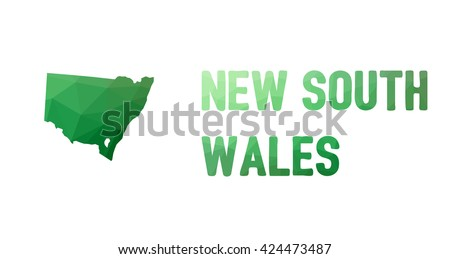 Green polygonal mosaic map of New South Wales - political part of Australia, state, NSW; correct proportions - stock vector