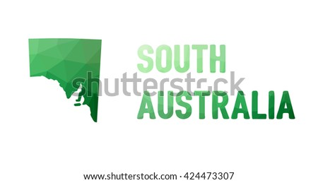 Green polygonal mosaic map of South Australia- political part of Australia, state, SA; correct proportions - stock vector