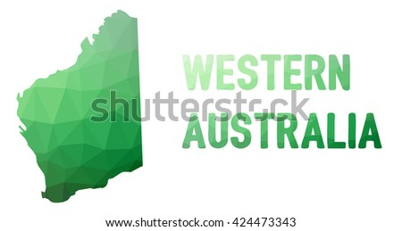 Green polygonal mosaic map of Western Australia - political part of Australia, state, WA; correct proportions - stock vector