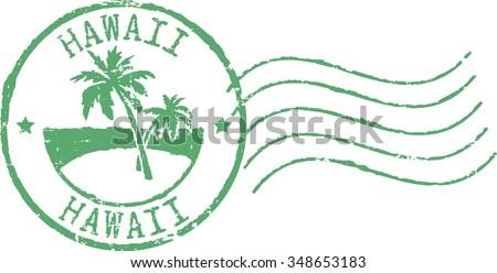 Green postal grunge stamp ''Hawaii'. - stock vector