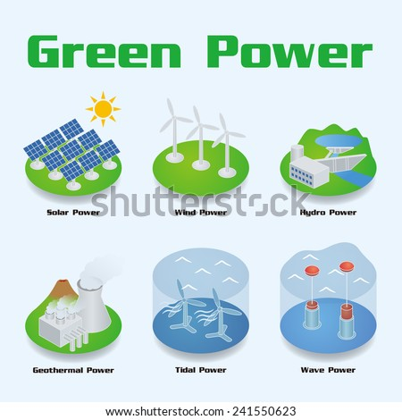 Green Power Image Illustration, vector - stock vector