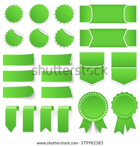 Green price tags, stickers, labels, banners and ribbons, vector eps10 illustration - stock vector