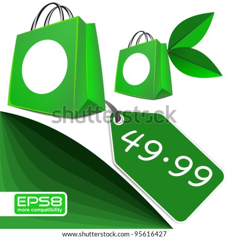 Green Product Design with Price Tag - EPS8 - stock vector
