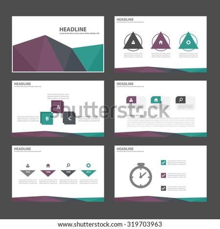 Green purple black Infographic elements presentation template flat design set for brochure flyer leaflet - stock vector