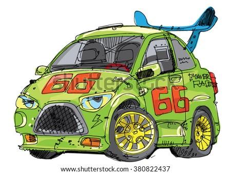 green race car - cartoon - stock vector