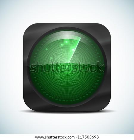 Green radar screen icon. Vector illustration for your design. - stock vector