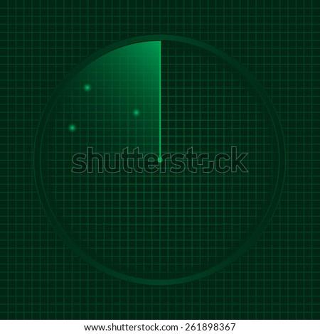 Green radar screen, technology concept. Vector illustration. - stock vector
