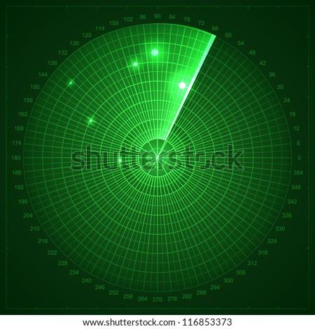 Green radar screen. Vector illustration for your design. - stock vector