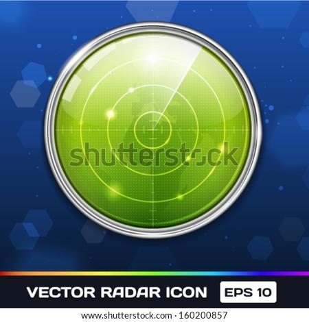 Green Radar Vector Icon - stock vector