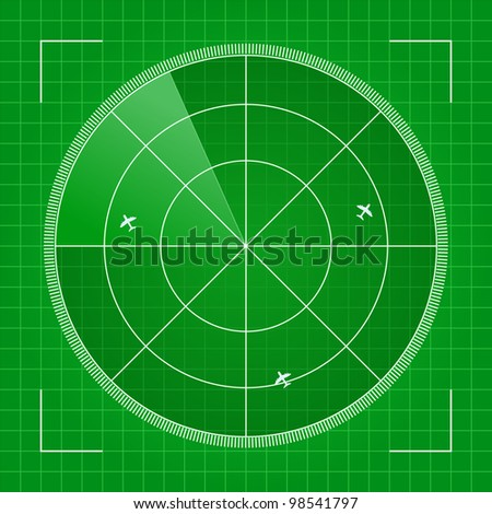 Green Radar with Airplanes. Vector Illustration - stock vector