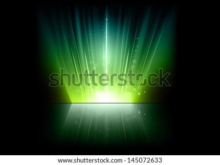 green rays on the dark - stock vector
