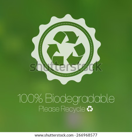 Green recycle design against blurred background. - stock vector
