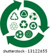 Green Recycle Icons - stock vector