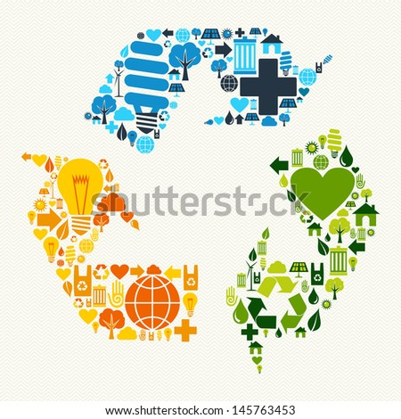 Green recycle plus love eco friendly set. Vector file layered for easy manipulation and custom coloring. - stock vector