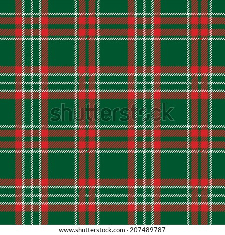 Green,red and white tartan traditional fabric seamless pattern , background, fabric, Wallpaper, wrapping paper,web backdrop.Retro style.Traditional ornaments for the Christmas and new year.Vector - stock vector