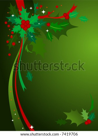 Green & red themed Christmas background of holly and ribbons. See Image #7419715 for Hi-res JPG version. - stock vector