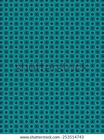 Green repeating circle pattern with outline over blue background - stock vector