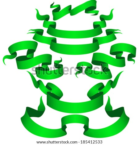 Green Ribbon Banner set Part 1. Vector  - stock vector