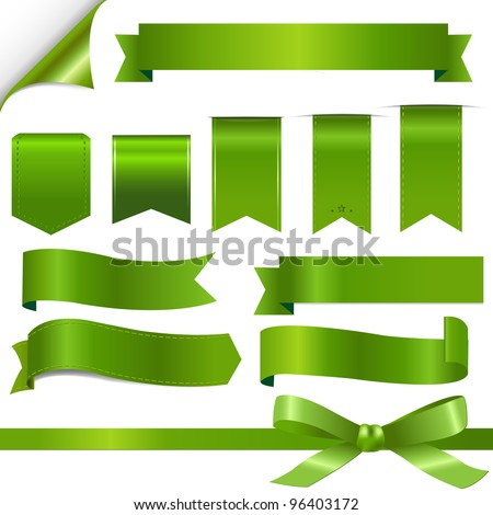 Green Ribbons Set, Isolated On White Background, Vector Illustration - stock vector