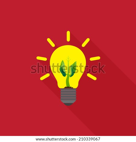 Green rising sprout growing out of a bulb, Green energy concept, New life concept - Vector - stock vector