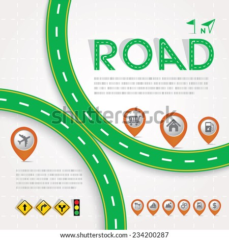 Green Road & Street Design Template with Map Pointer Icon Set, Travel Concept, Vectors eps10. - stock vector