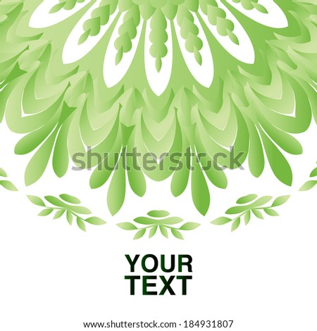 Green Round Ornament with Place for Your Text - stock vector
